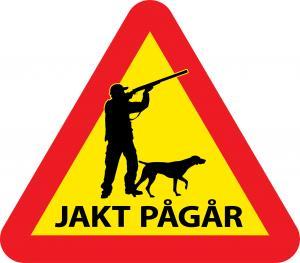Varningsskylt jakt med jägare & hund