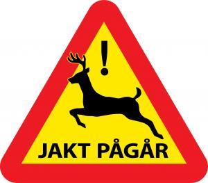 Varningsskylt jakt med hjort