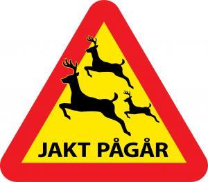 Varningsskylt jakt med hjortar