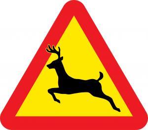 Varningsskylt hjort