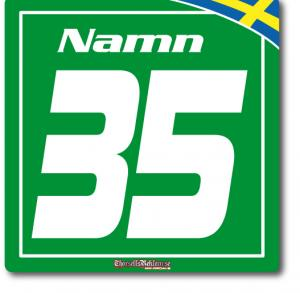 Startnummer till gokart med flagga