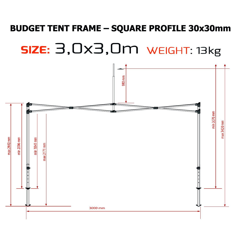 Tält 3x3m Budget 30mm Pop Up!
