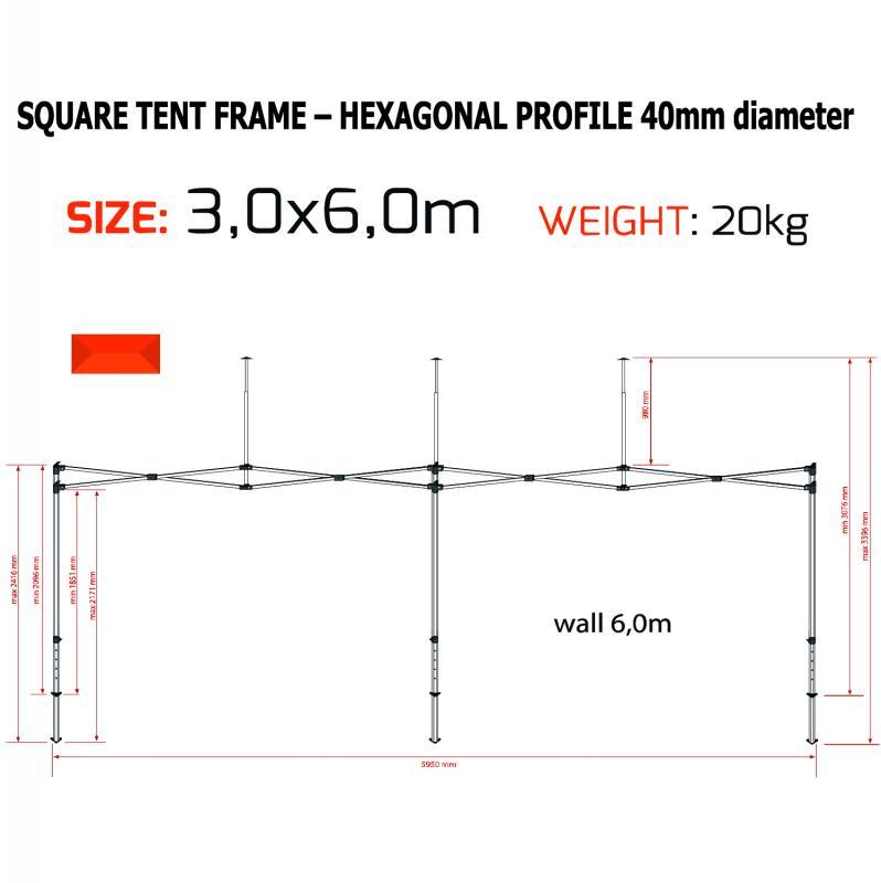 Tält 6x3m Hexagon 40mm Pop-Up!