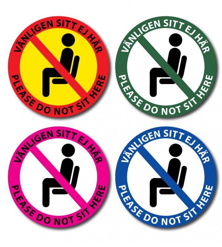 """Dekal """"Vänligen Sitt ej här- Please do not sit her"""""""