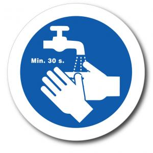 """Dekal Tvätta händerna """"Min. 30 s."""", rund."""