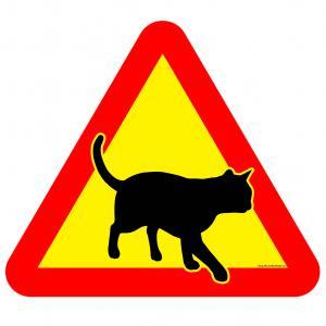 Varningsskylt Gående katt