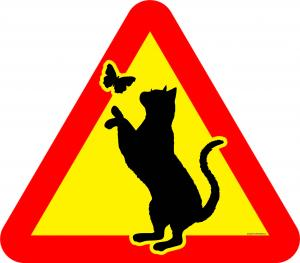 Varningsskylt Katt på 2 ben