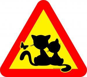 Varningsskylt katter och fjäril