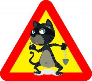 Varningsskylt Katt med fiskben