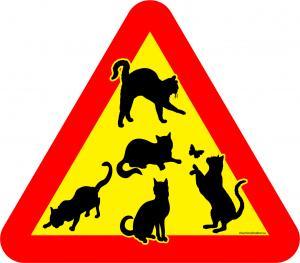 Varningsskylt katter