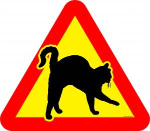 Varningsskylt Katt med kroksvans