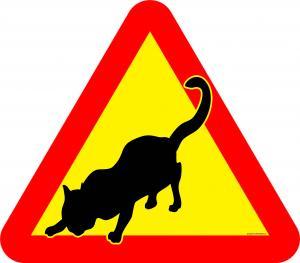 Varningsskylt Katt smygande