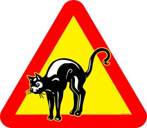 Varningsskylt Katt med kutrygg