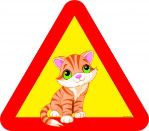 Varningsskylt Kattunge
