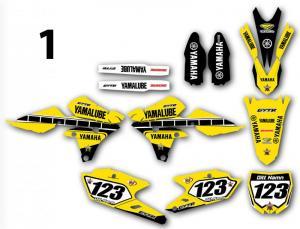 Yamaha 7 olika designer! Komplett dekalkit, anpassat till valfri modell. Färgerna går att byta om du vill.  5 loggor ingår i priset.