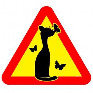 Varningsskylt Smal katt 3 fjäril