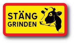 """Skylt """"Stäng grinden!"""" med ko"""