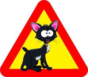 Varningsskylt Katt svart stora ögon