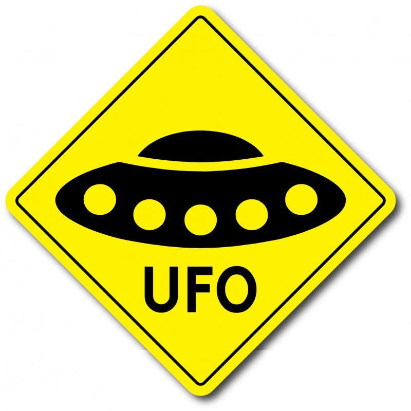 Varningsskylt UFO med text