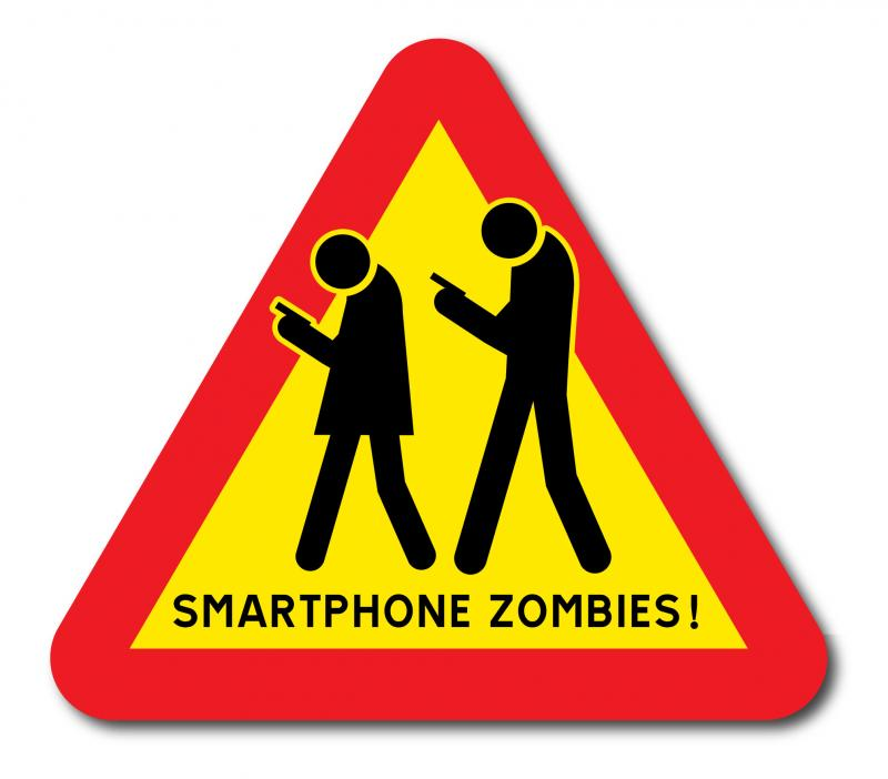 Varningsskylt Smartphone Zombies med text