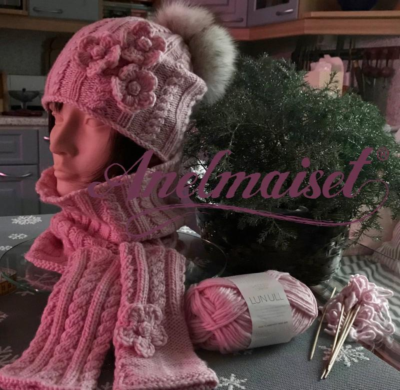 Anelmainen hat, mittens and neck warmer in english