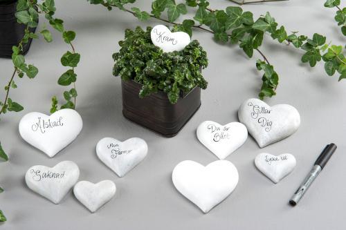 Hjärta skrivbart, vit poly 10*9*13 cm