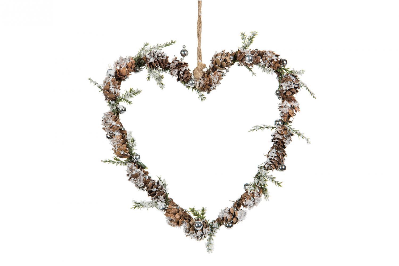 Hjärta jul med kottar och pärlor