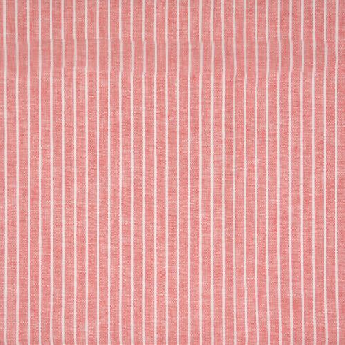 Halvlinne Röd vit rand 55% linne 45% bom 140cm