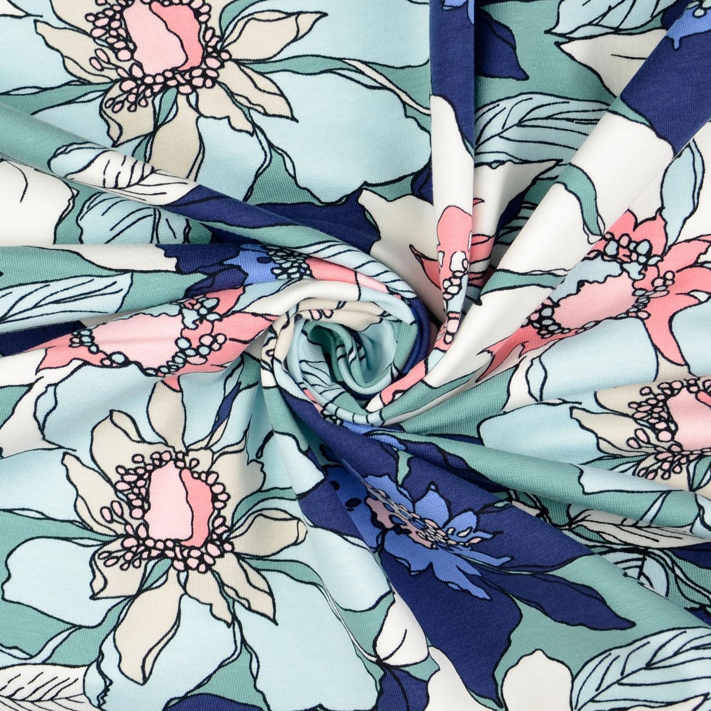 French Terry Turkos blå blomma 155cm 95%Bom Oeko-Tex