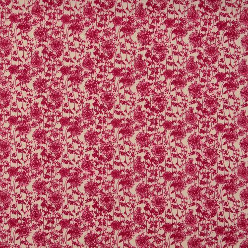Poplintryck ROSA VINRÖD blomma145cm