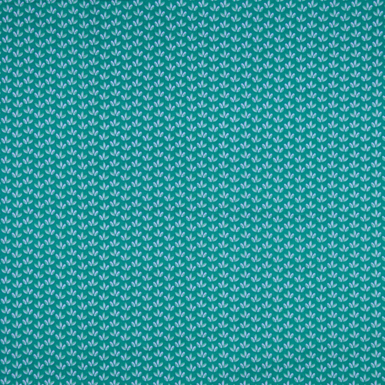 Poplintryck Grön m fyrkant o blomma145cm