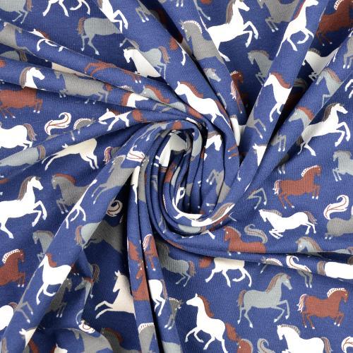 trikå Hästar Blå 150cm Oeko-Tex 95%bom