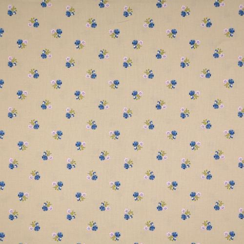 Bomulls folktryck 140cm Beige blommig Blå/rosa 135cm 100 gr