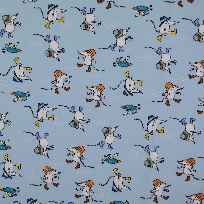Trikå Ljus blå mus och fågel ekobom Oekotex 150cm