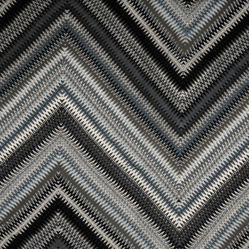 Viskostryck zickzack Multi grå svart 145cm