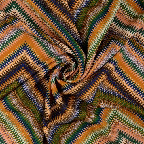 Viskostryck  Zickzack gul blå grå 145cm oekotex