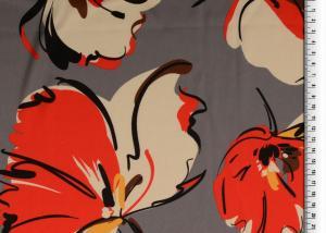 PES Satintryck Grå/röd blomma
