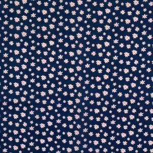Bomullstryck marinblå med vit blomma 135cm 100% Bom