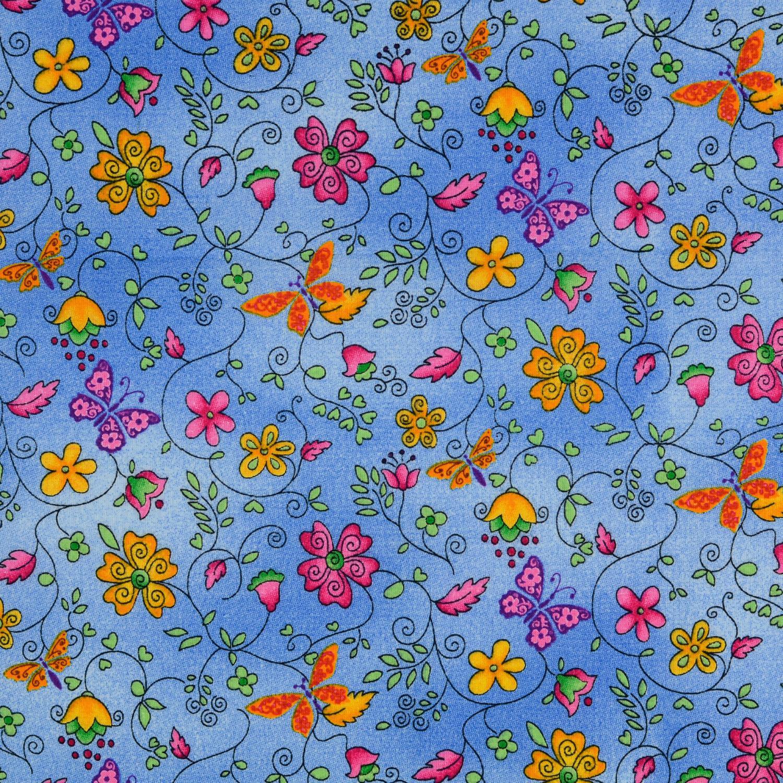 Bom tryck Eko Blå blommor 140cm
