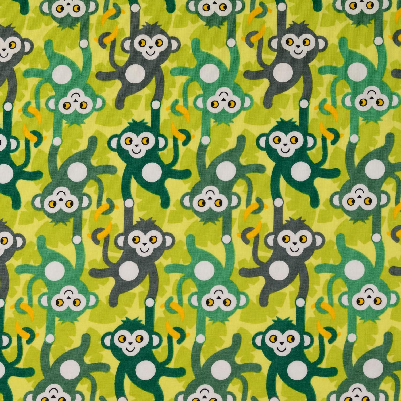 Trikå gröna apor 150cm Oeko-Tex 95% Bom