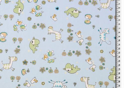 Bomullstryck Blå m djur