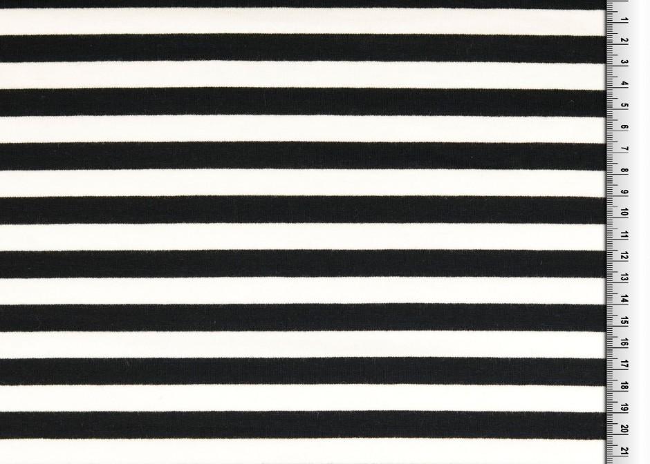 French Terry, randigt tyg i svart & vitt