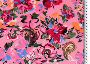Rosa trikå med färgglada blommor
