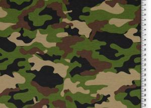 Kamouflage mönstrad Trikåtyg,  svart & grön