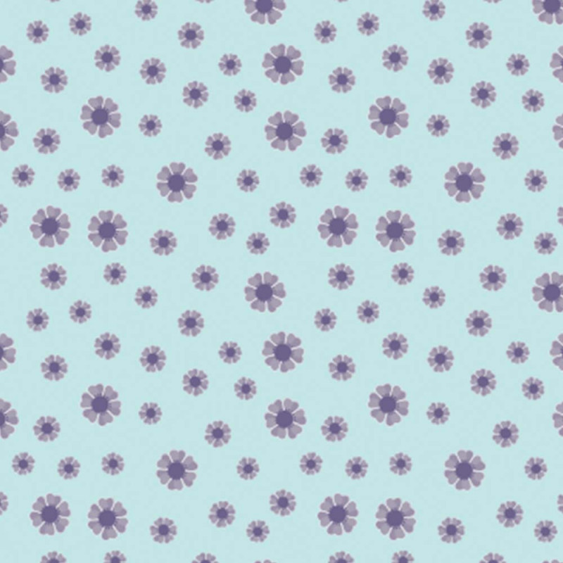 Trikå reaktiv Ljusblå/lila blommor 150 cm