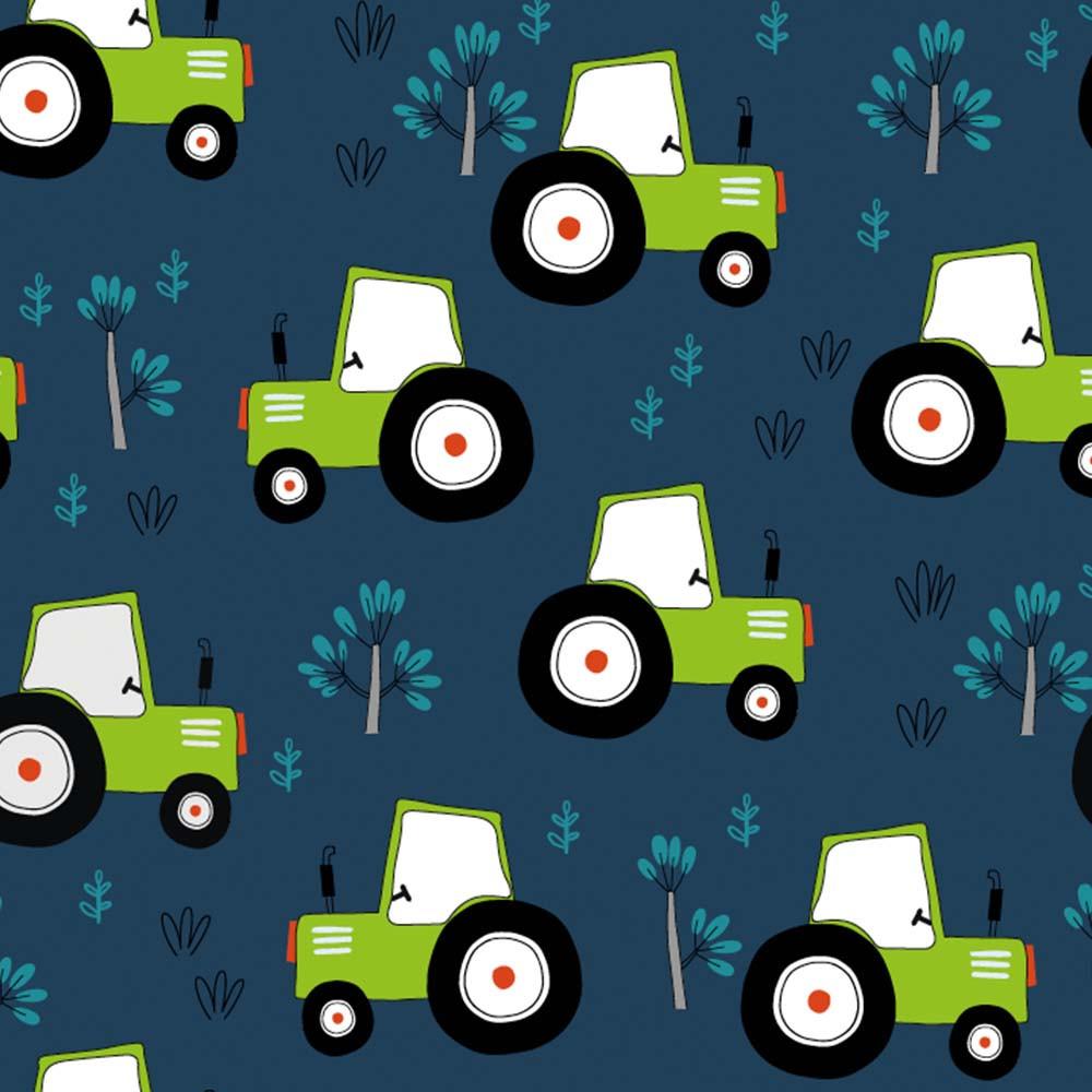 Reaktiv trikåtyg, med gröna traktorer
