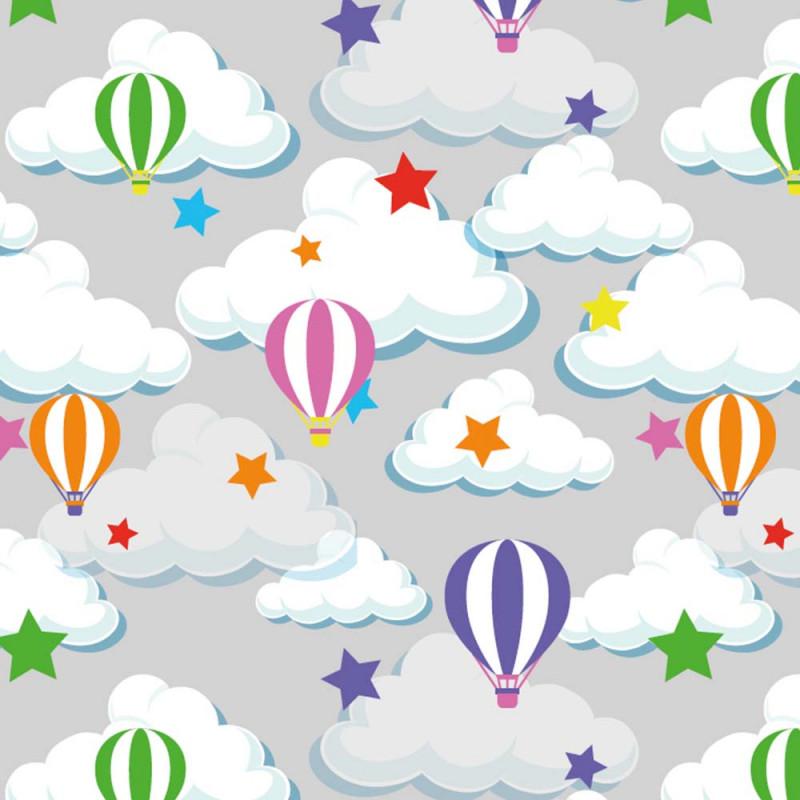Trikåtyg med färglada Luftballonger , Reactiv