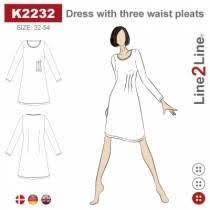 Dress with three waist pleats, K2232