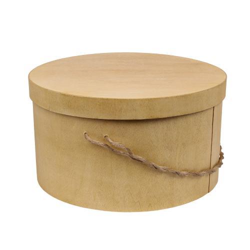 Trälåda Bertil rund med lock och snöre, stor