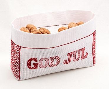 """broderi Korg / julpost  """"God Jul"""""""